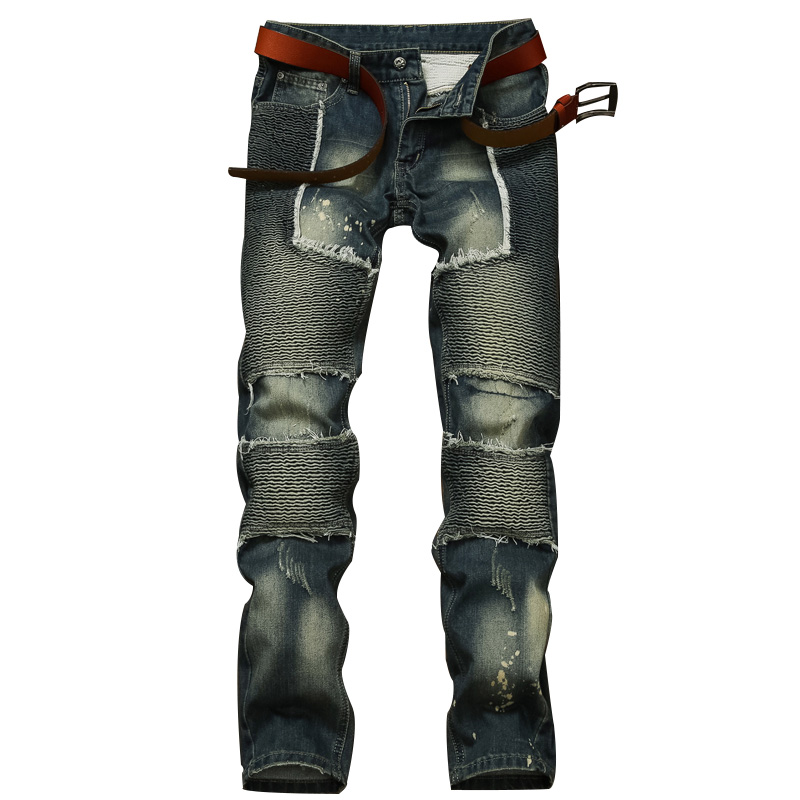Mens Jeans Dark Gray Brand Vintage Designer Casual Ripped Jeans Mens Fashion Denim Pants Silm Fit Male Jeans