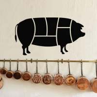 Piggy Pig Pork Pork Chop Butcher Wall Decal Wall Sticker for Kitchen or Dining Room Chalkboard Sticker 45cmX80cm Free Shipping