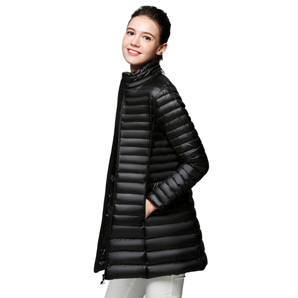 Women Long Down Coats Jacket Casual 90% White Duck Down Jacket Ultra Light Female Autumn Winter Fashion Warm Plus Size Parkas
