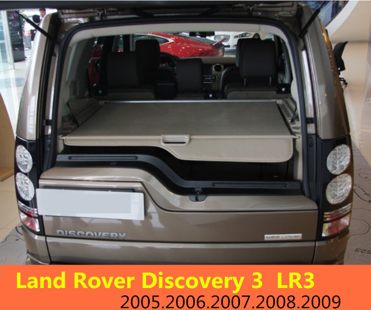 Car Rear Trunk Security Shield Cargo Cover For Land Rover Discovery 3 LR3 2005-2009 High Qualit Black Beige Auto Accessories car rear trunk security shield cargo cover for dodge journey 2009 2010 2011 2012 high qualit black beige auto accessories