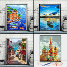 Oil paint painting by numbers diy picture drawing coloring on canvas painting by hand wall paint by number landscape(China)