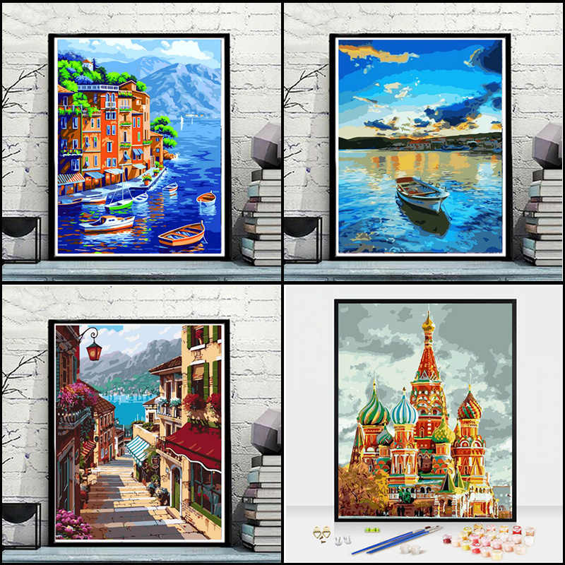 Oil paint painting by numbers diy picture drawing coloring on canvas painting by hand wall paint by number landscape