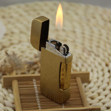 Creative Portable Metal Windproof Lighter Double Fire cigarette lighter Butane Gas Lighter Grinding Wheel Open Flame creative flame dragon pattern lighter antique brass