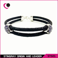 Hot Sell Luxury 925 Silver Stingray Leather Cord Bracelet STS05