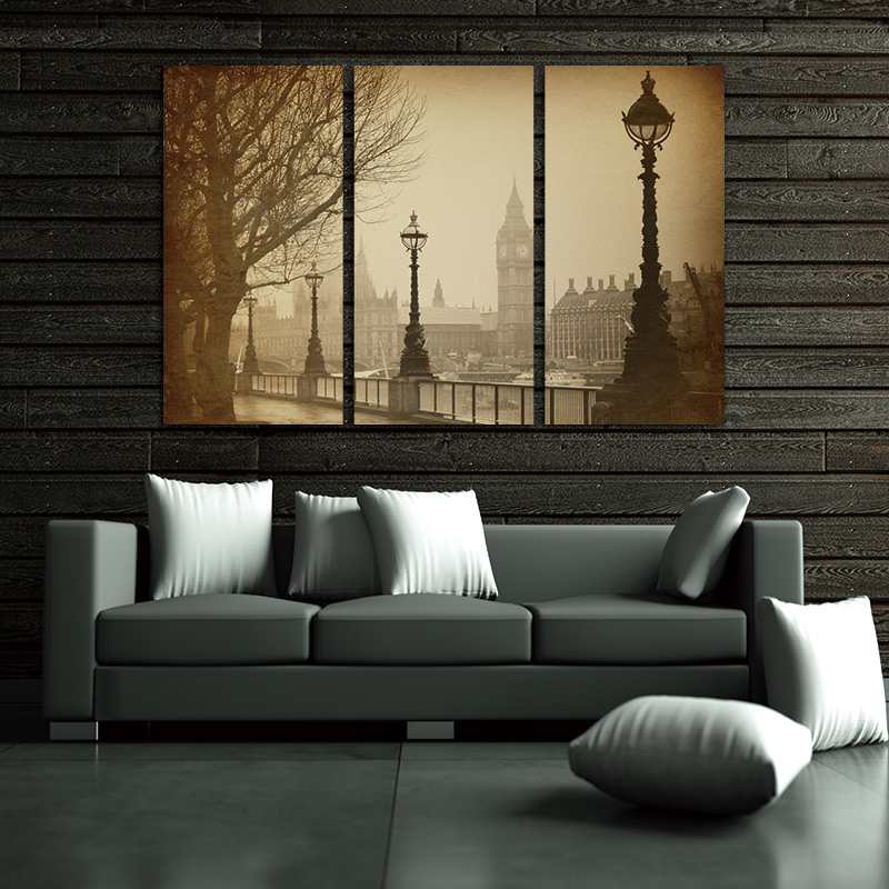 US $15 5  Modern print canvas painting wall Pictures 3 Panel Wall Art Brown  Vintage Retro Big Ben Houses Of Parliament In London Painting -in Painting