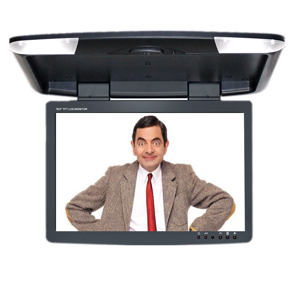 15.5 Inch Roof Mount monitor Flip Down Monitor Display Car Monitor & 2 Video Input Three Colors gizcam 10 2 car ceiling flip down overhead roof mount hd screen video monitor car flip down monitor new