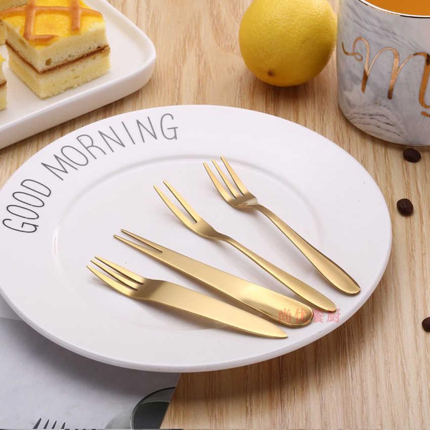 1pc Stainless Steel Dinner Fork Set Korea Colourful Dessert Fork With Long Handle Gold rose gold Fork Set for Hotel Party
