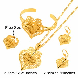 Image 3 - Anniyo Heart Dubai Jewelry sets Ethiopian Necklaces Earrings Ring Bangle African Gold Color Arab Wedding Bride Dowry #020506