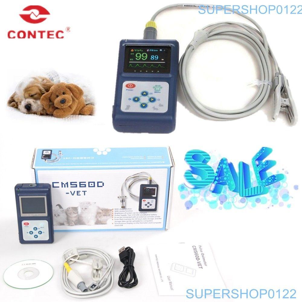 CE FDA CMS60D-VET Animaux En Utilisant Pulse Oxymètre Vétérinaire Sonde OLED SPO2 PR Moniteur USB SW Nouveau contec