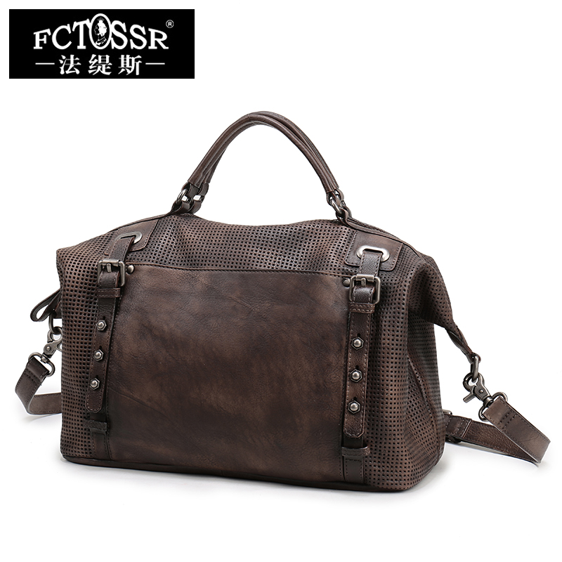 2017 Genuine Leather Women Handbag New Handmade Retro Shoulder Bag Large Capacity First Layer Cowhide Female Crossbody Bags aetoo retro shoulder bag genuine handmade men women casual travel backpack large capacity first layer leather