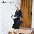 Мать Платье Кормящих Одежда Для Беременных Беременная Женщина Из Одежды Осень Длинный Отрезок Платье V-воротник Кормления Одежда