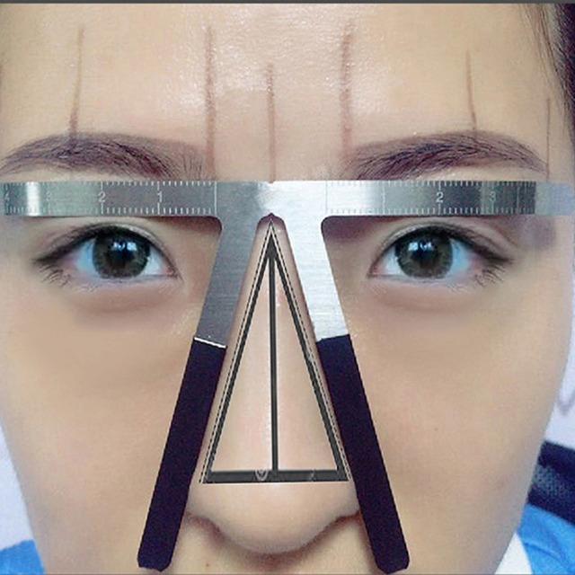 1 PC Makeup Tools New Tattoo Eyebrow Ruler Three-Points Positioning Stencil Permanent   #10B00080 # 2