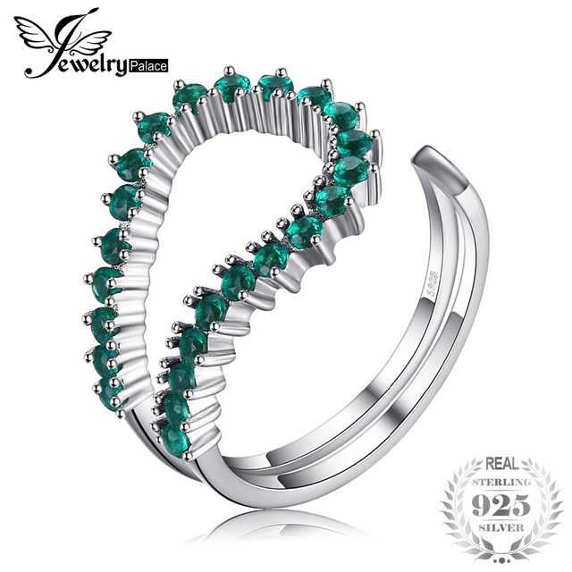 JewelryPalace Fashion 0.5ct Nano Russian Simulated Emerald Open Ring 925 Sterlin