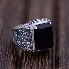 Anillo negro Obsidiana Vendimia 100% Real Pure 925 pendientes de Plata de Ley Para Hombre Con Piedra Natural Fine Jewelry Genuino Rock de Moda