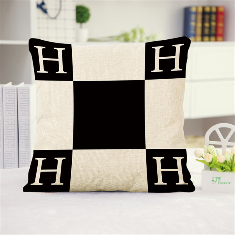 Exclusive Supply 60*60CM Big <font><b>Pillow</b></font> <font><b>Case</b></font> 2017 New Style 'H' Letter Print Flax Pillowcase Back Throw <font><b>Pillow</b></font> Cushion <font><b>Pillow</b></font> Covers image