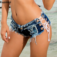 New Sexy Women Denim Jeans Short Pants Mid Waist Lace Up Shorts for Girls DS Summer Mini Shorts