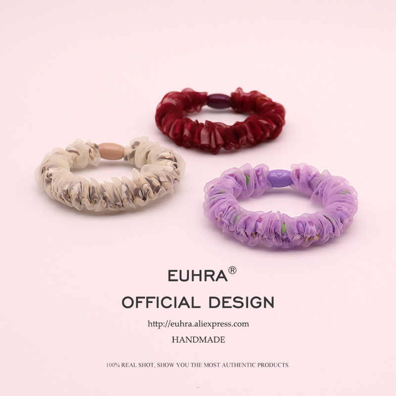 EUHRA 3 Colors Lace Chiffon Gauze Pleated Translucent For Women Elastic Hair Bands Kid Children Rubber Bands High Elasticity
