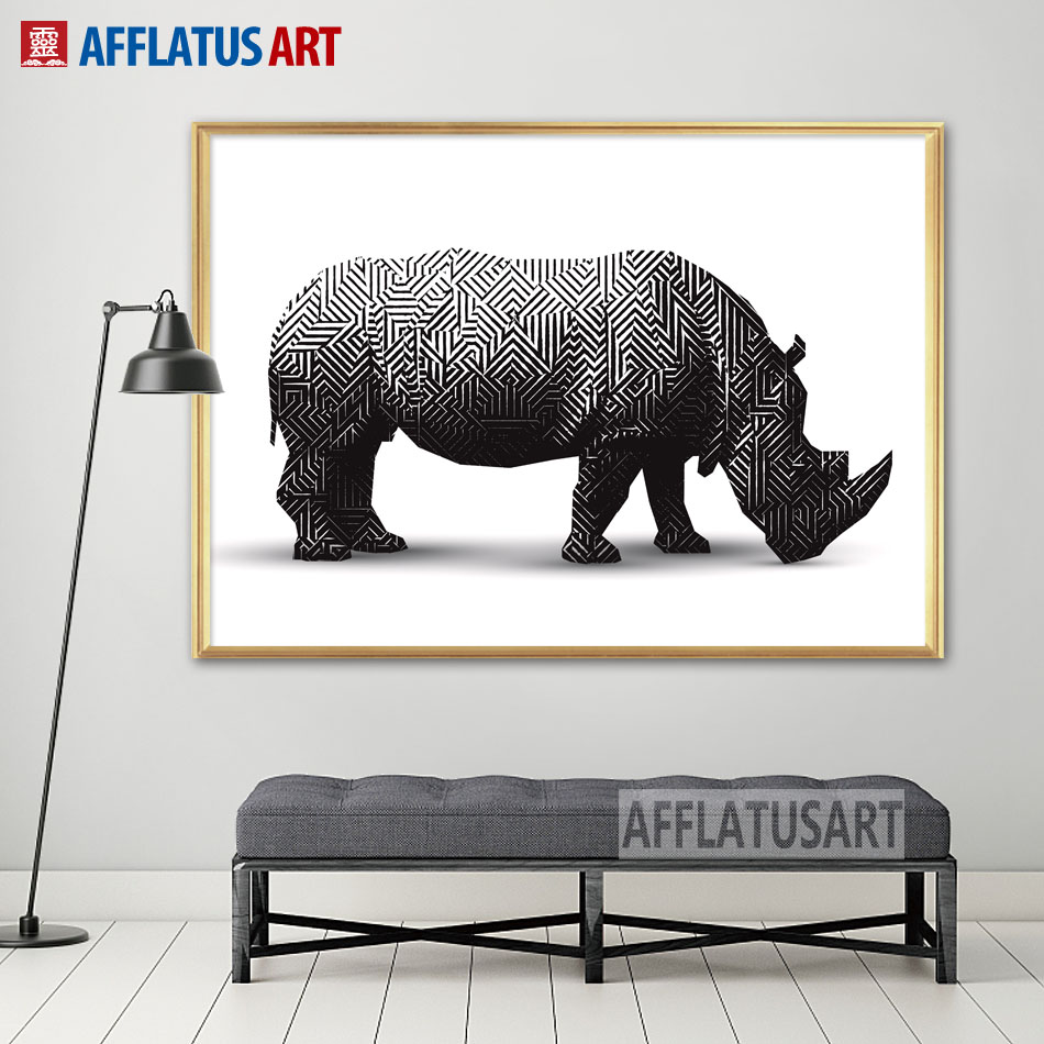 AFFLATUS Black White Geometric Rhino Nordic Poster Canvas Painting Wall Art Posters And Prints Pictures For Living Room