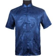 78caef43968b Azul marinho Homens Verão Lazer Camisa de Alta Qualidade de Seda Chinesa  Rayon Kung Fu Tai