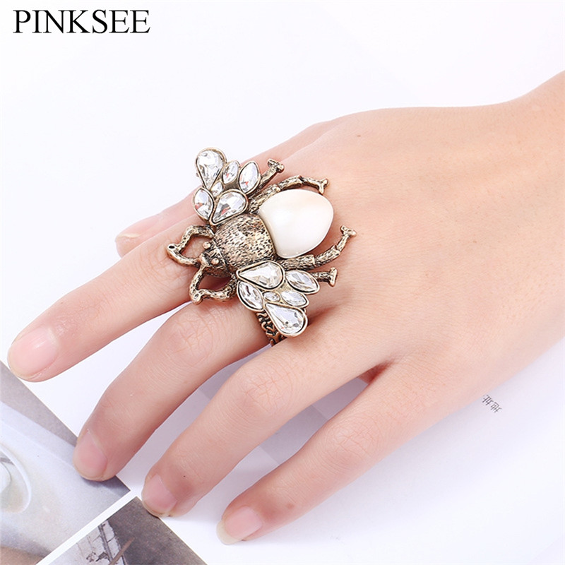 PINKSEE Multi-Layer Personality Insect Crystal Ring For Men Women Cute Bee Adjustable Finger Jewelry Bague Femme