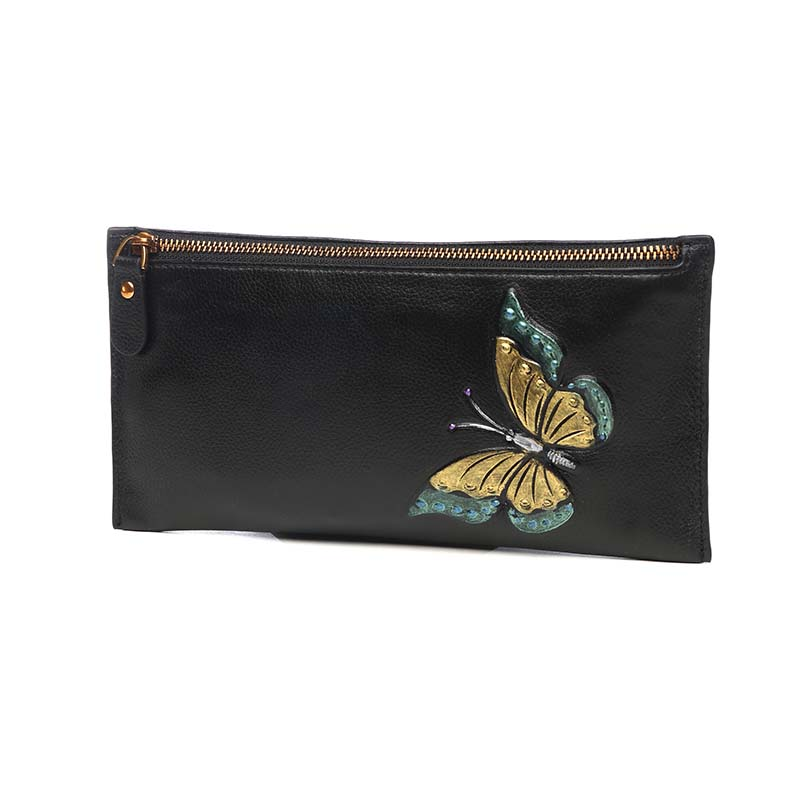 Vintage Butterfly Women Long Wallet Genuine Leather Lady Zipper Wristlet Coin Holder Multifunction Hand Clutch Bag Thin Purse
