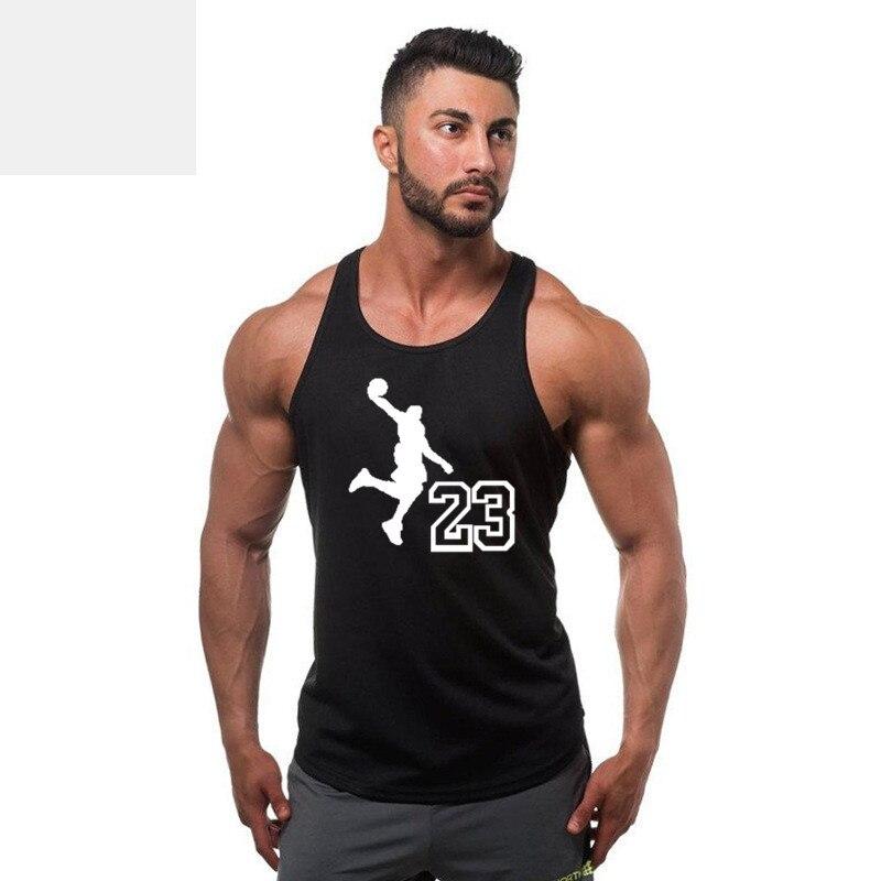 2019 gyms clothing Jordan 23 Brand bodybuilding stringer   tank     top   men fitness vest muscle guys sleeveless vest Tanktop