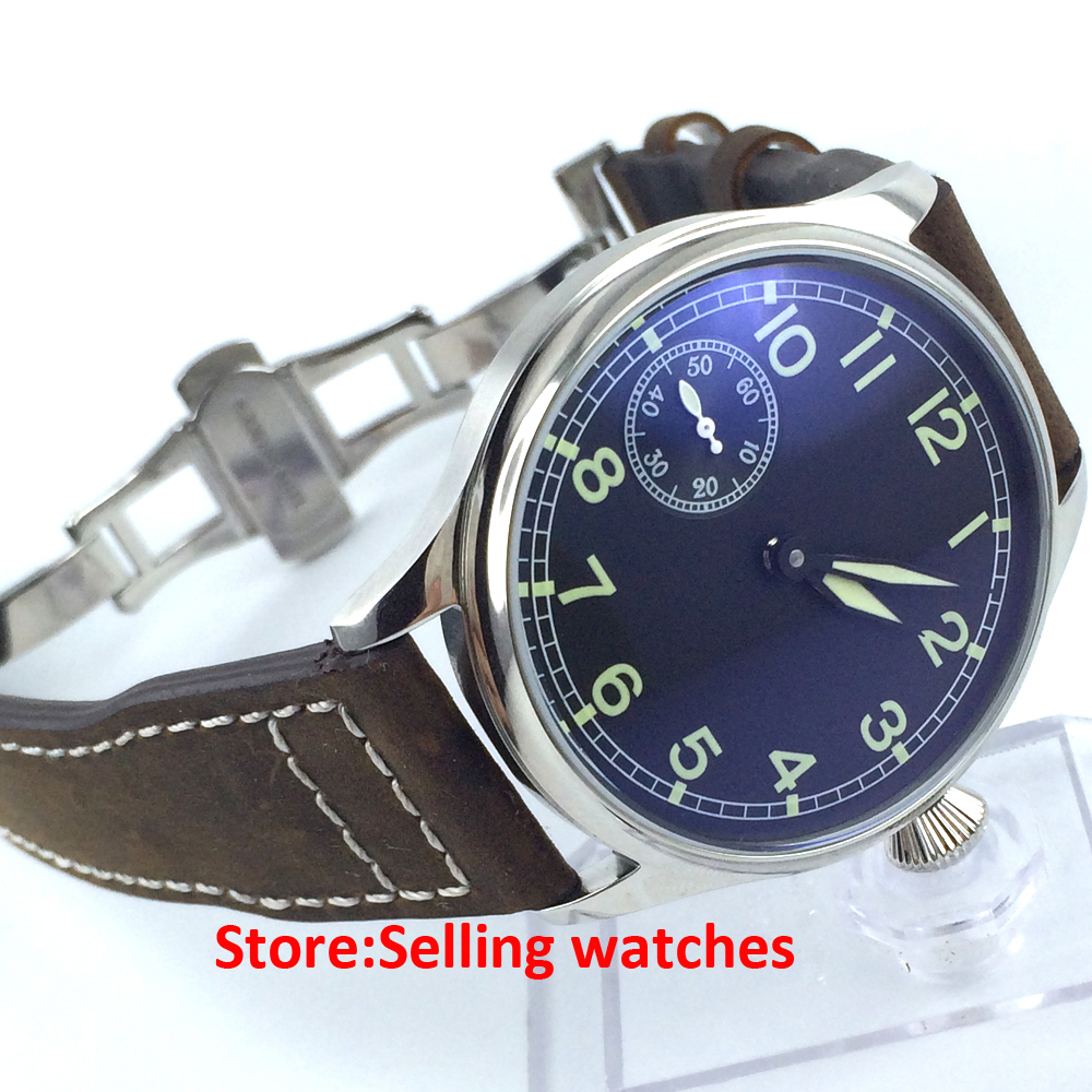 44mm parnis black dial luminous 6497 movement hand winding mens wrist watch 44mm black sterile dial green marks relojes 6497 mens mechanical hand winding watch luminous armbanduhr cm164bk