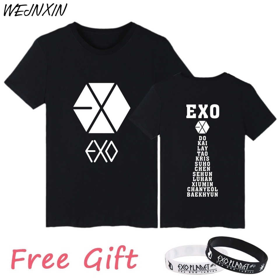 VAGROVSY Kpop Exo Short Sleeve T Shirt Women Cotton T-Shirt Women Men Couple Clothes Vetement Femme Camisetas Mujer 2017