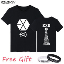 WEJNXIN Kpop Exo Short Sleeve T Shirt Women Cotton T-Shirt Women Men Couple Clothes Vetement Femme Camisetas Mujer 2017(China)