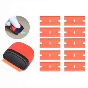 Image 1 - FOSHIO vinil araç örtüsü pencere tonu tutkal şerit etiket çıkarıcı Razor kazıyıcı + 10 adet tıraş bıçağı seramik cam fırın temiz silecek