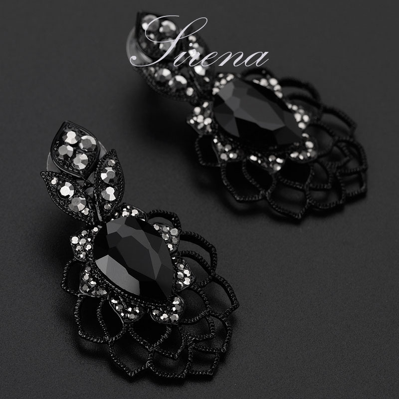 EC099 Luxury Dangle Drop Chandelier Flower Black Austrian CZ Big ...