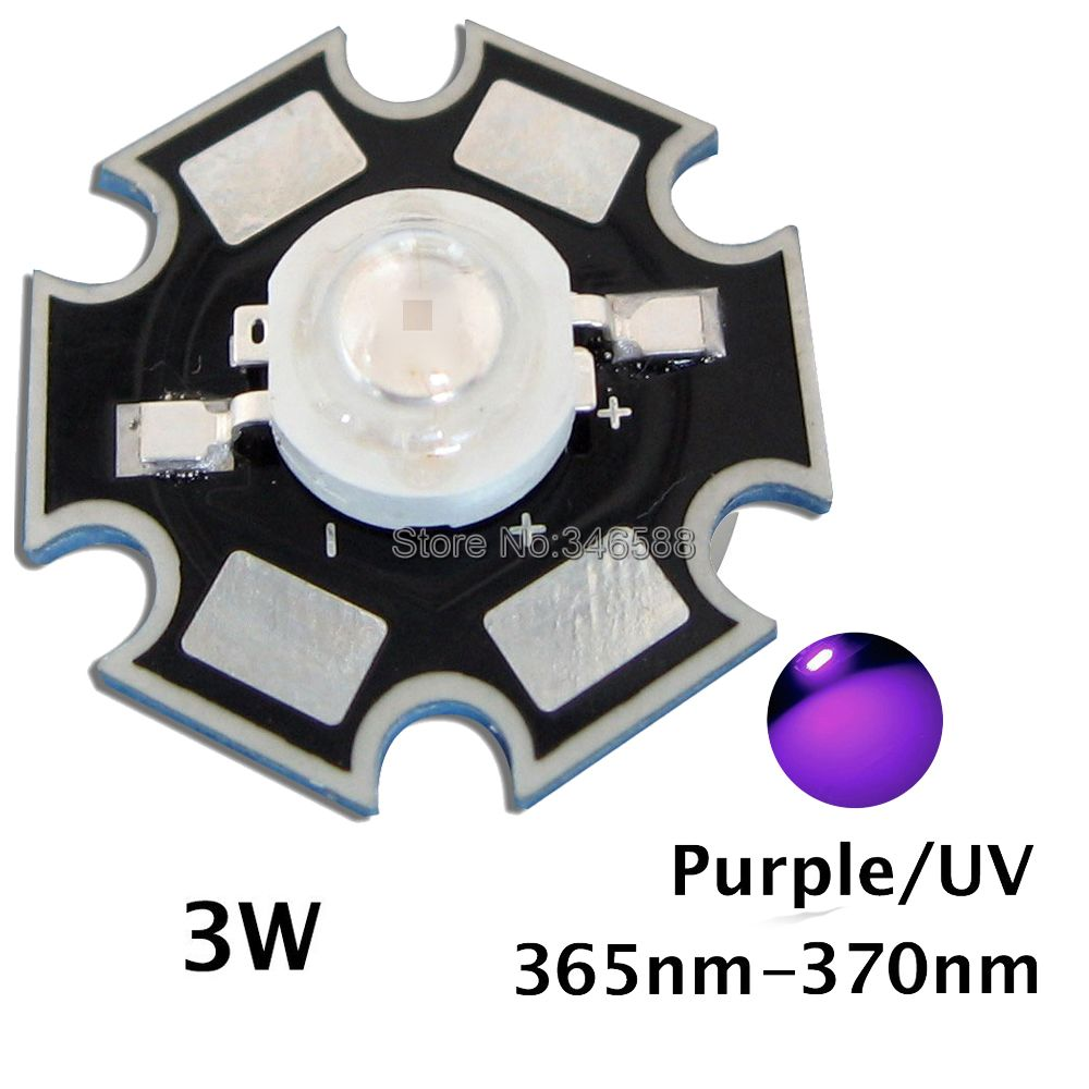 5pcs 3w uv ultra violet high power led emitter diode w 20mm star