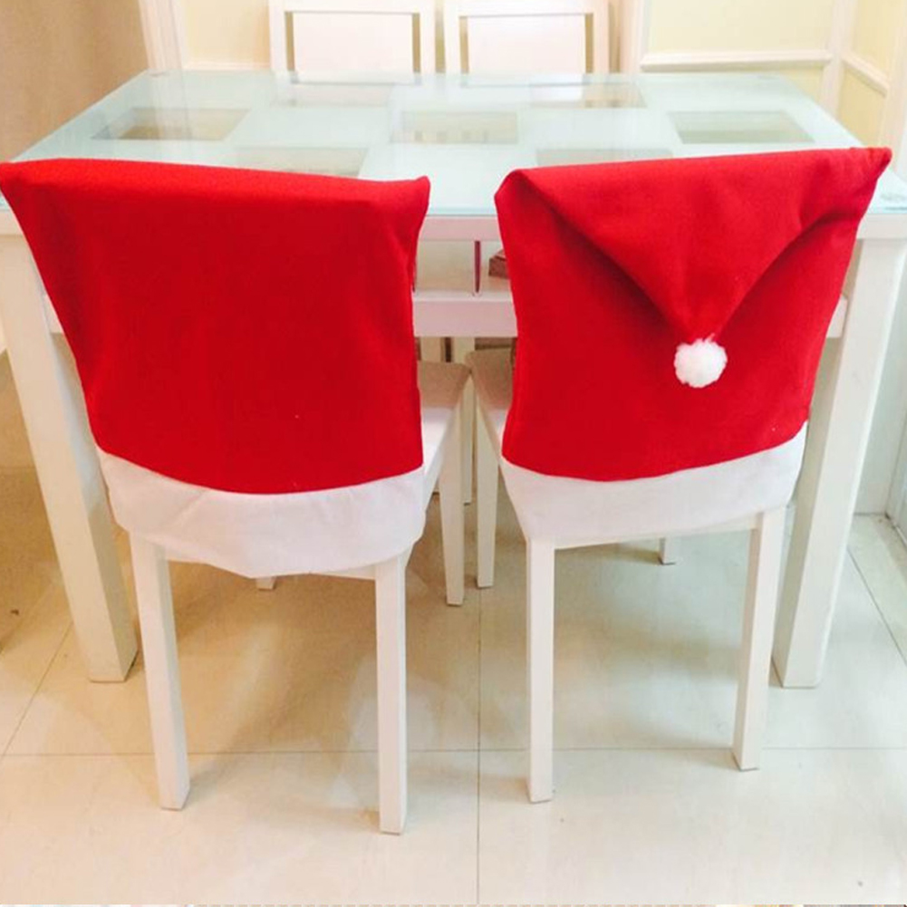 5pcs 2018 Santa Claus Chair Cover New Year Christmas Decoration for Home Dinner Table Party Red Hat Chair Back Covers