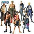 Uma Peça Pop Figura de Ação Brinquedos 25 cm Após 2 Anos Luffy & Zoro & Sabo & Law & Hastes & Ace 1/8 Scale Painted PVC Boneca Coleção