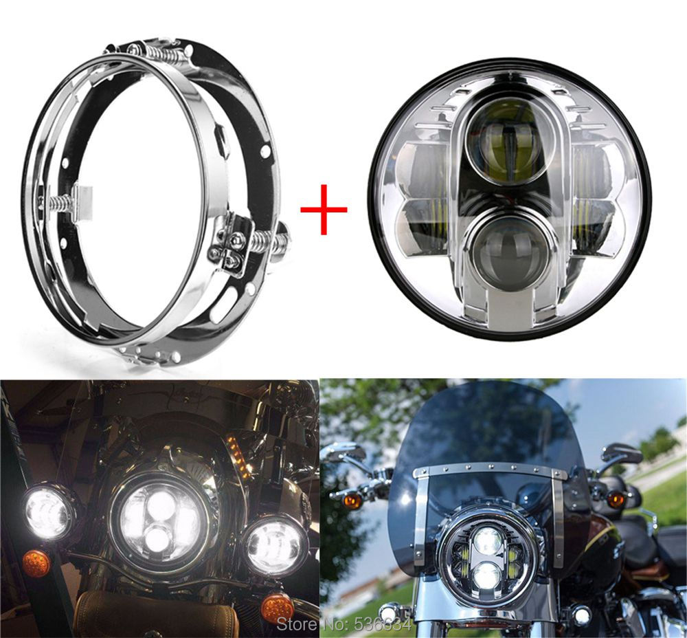 7 Inch LED Round Projector Daymaker Headlight With Chrome LED Headlight Mounting Bracket Ring For Electra Glide Ultra Limited 7inch led projector daymaker headlight hi low beam led headlight mounting bracket ring for electra glide ultra classic efi