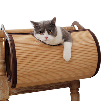 Natural Bamboo Radiator Cat Bed Home Tent Cat Tunnel Toys Hanging Wall Cat House Mat Habitat Cat Scratch Board Toys Pet Products 4