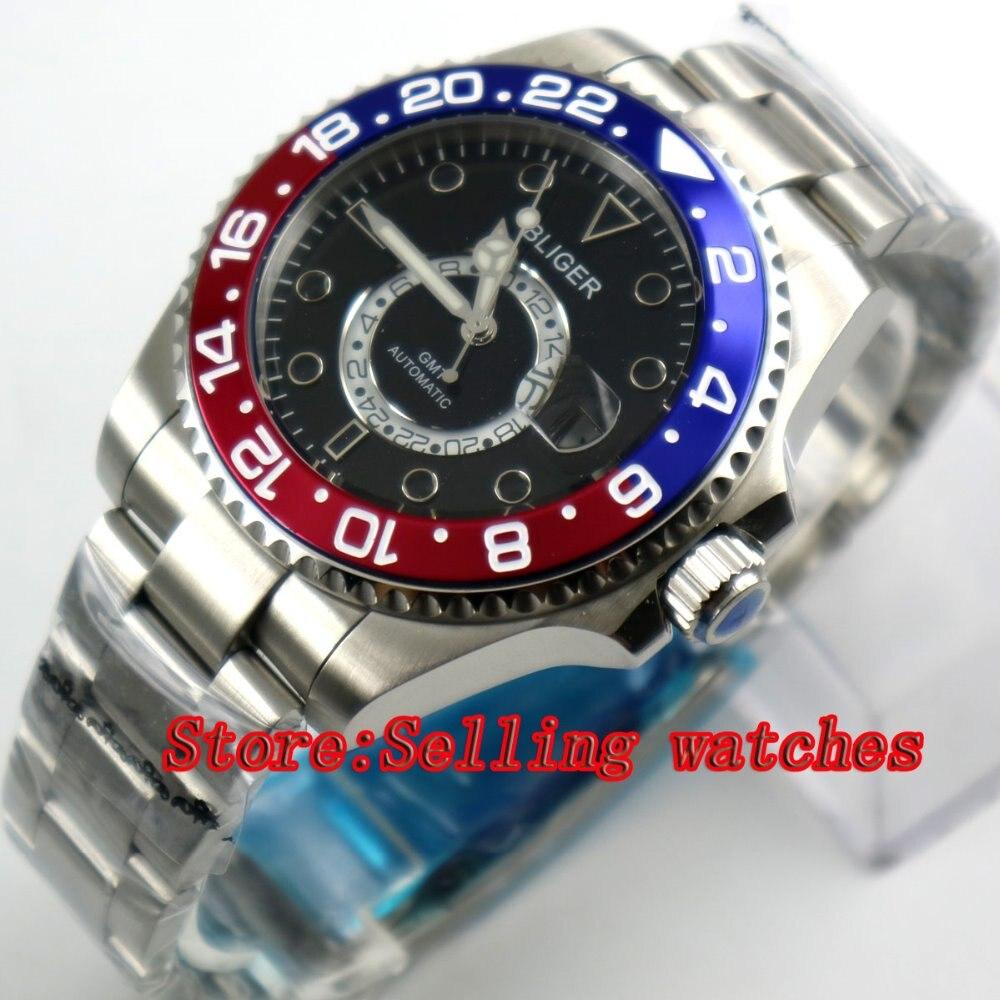 43mm Bliger Stainless Steel Case black Dial Red & blue titanium Bezel Luminous Mechanical Mens Wristwatch43mm Bliger Stainless Steel Case black Dial Red & blue titanium Bezel Luminous Mechanical Mens Wristwatch