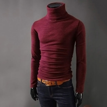 Men's Fashion Knitted Roll Turtle Neck Pullover Autumn Winter Male Long Sleeve Slim Fit Sweater Top Casual Solid Men's Sweater