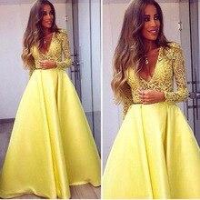 Elegante Gelbe Dubai Abaya Langen Ärmeln Abendkleider Tiefer v-ausschnitt Spitze Kleider Abendgarderobe Zuhair Murad Prom Party Kleider