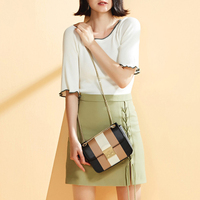 2018 Women Fashion England Style Long Chain Patchwork Genuine Leather Crossbody Shoulder Bags Gift For Friend