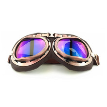 Motorcycle household goggles outdoor riding windproof anti-sleep fog glasses bronze real leather
