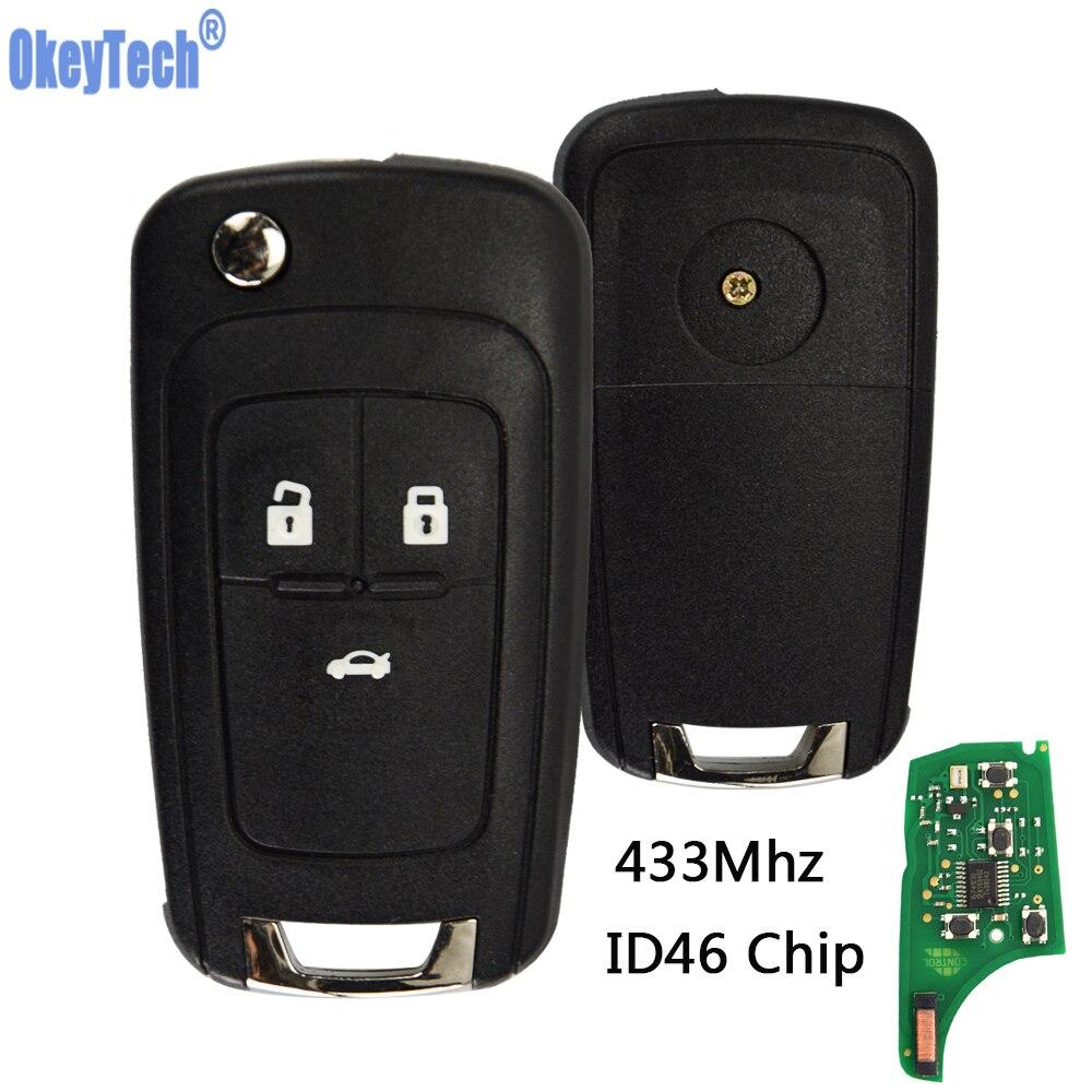 OkeyTech voiture clé à distance bricolage pour OPEL/VAUXHALL 433MHz avec puce ID46 pour Astra J Corsa E Insignia Zafira C 2009-2016 2 3 4 bouton