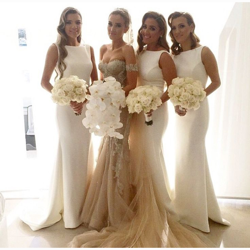 Glamorous Scoop Neck Mermaid   Bridesmaid     Dresses   Women's Bridal Party Wear   Dress   Simple Custom Made Prom Gowns 2018 Plus Size