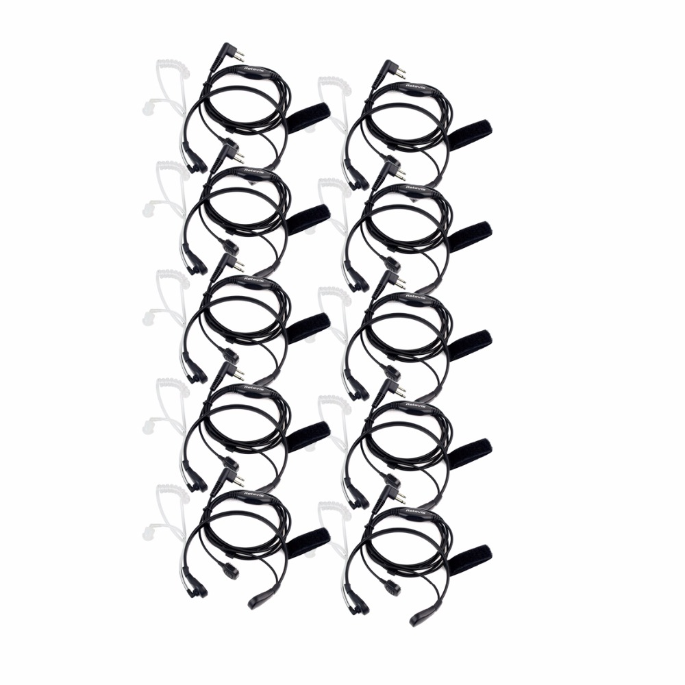 10pcs Retevis 2 Pin PTT Throat MIC Covert Acoustic Tube Earpiece For Motorola Radio GP88 GP300