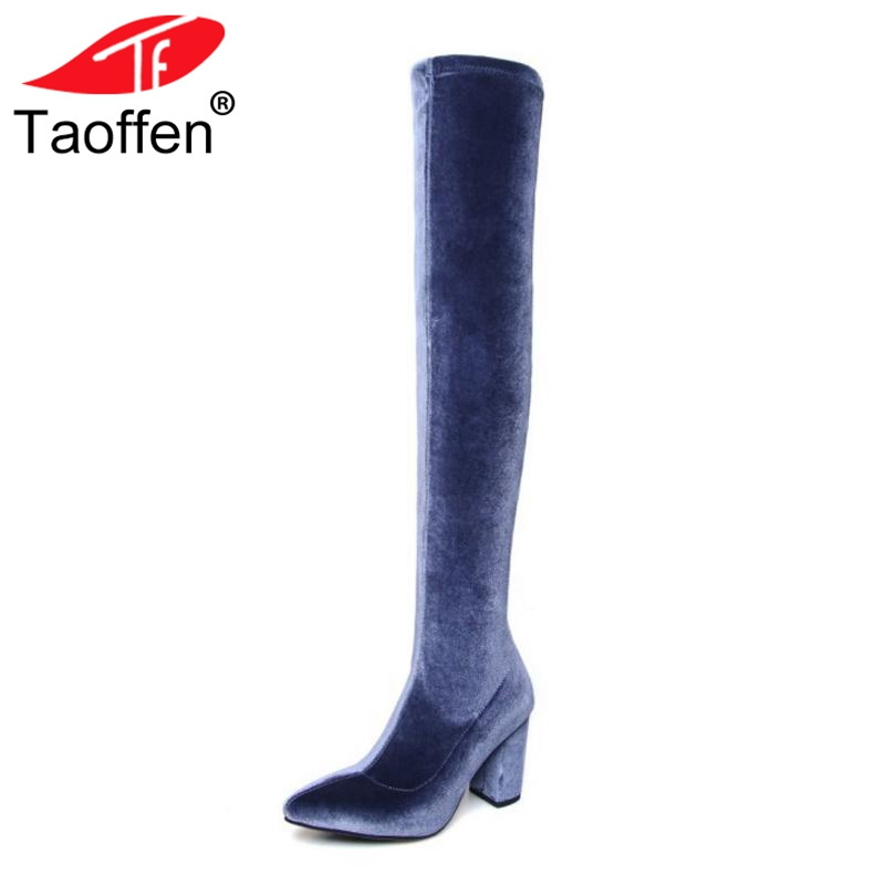 TAOFFEN Women Over The Knee Real Leather Boots Women High Heels Zipper Shoes Woman Winter Long Boots Sexy Women Shoes Size 34-39 new sexy women boots winter over the knee high boots party dress boots woman high heels snow boots women shoes large size 34 43