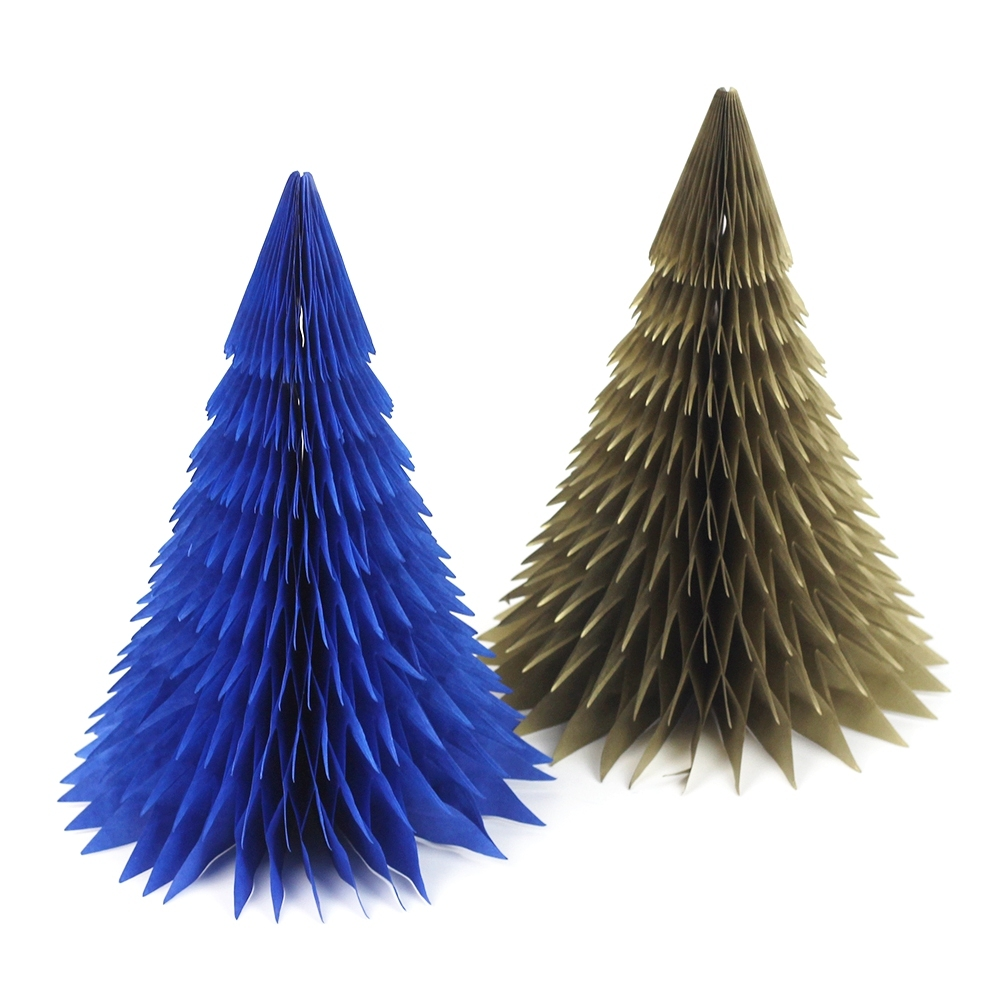 1pc navygold honeycomb christmas tree decorations tissue paper tree table centerpiece for xmas home festival decor - Navy And Gold Christmas Decorations