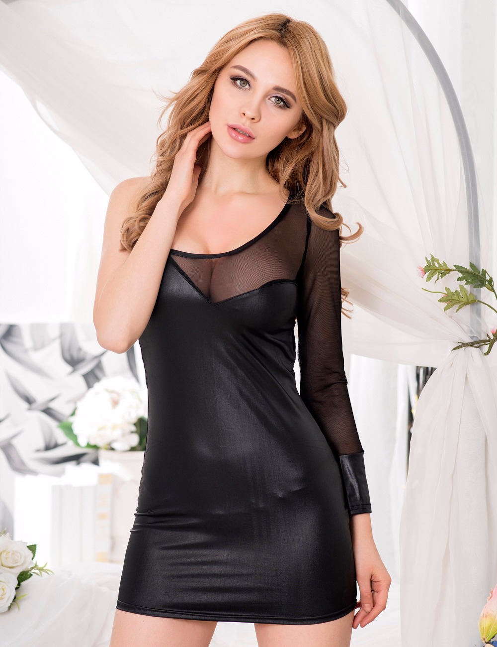 Nice R70139 Ohyeah Womens Sexy Dresses Erotic One-shoulder Faux Leather Sexy Clubwear Mesh Dress Short Hollow Out Exotic Apparel Babydolls & Chemises