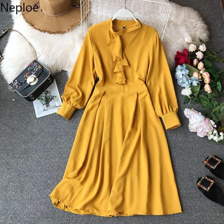 Delicious Neploe Women Elegant V-neck Ruffles Dress 2019 Spring Summer Long Sleeve Dresses Korean Solid Color Long Vestidos 52255 Women's Clothing