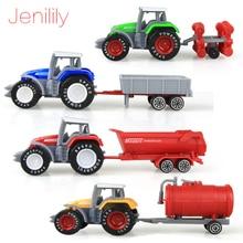 Jenilily 4 unids / set Alloy ingeniería tractor de juguete modelo de granja vehículo cinturón cinturón de juguete modelo de coche del día de los niños regalos de Navidad N06