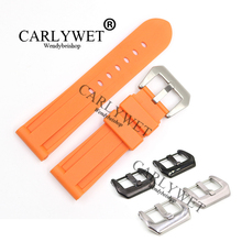 CARLYWET 24mm Wholesale Newest Orange Waterproof Silicone Rubber Replacement Wrist Watch Band Strap For  Luminor